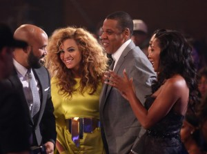 Singer Beyonce and rapper Jay-Z in the audience during the 2012 BET Awards at The Shrine Auditorium on July 1, 2012 in Los Angeles