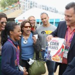 Steve Penny of USA Gymnastics presents London 2012 Olympic Gymnastics all-around gold medalist Gabby Douglas with her very own special edition box of Kellogg's Corn Flakes which will hit stores this Fall, on day 7 of the 2012 London Olympic Games on August 3, 2012 in London, England