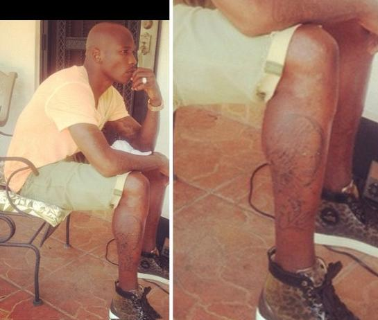 chad johnson leg tattoo