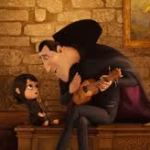 Adam Sandler as Dracula and Selena Gomez as Marvis in Hotel Transylvania (3D).