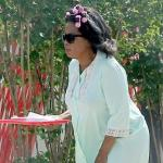 oprah (in curlers & night gown)
