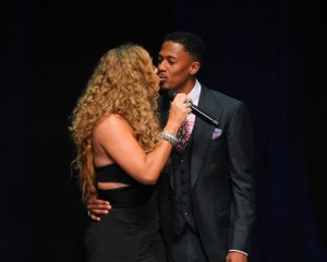 Mariah Carey (L) and Nick Cannon kiss at the 12th Annual BMI Urban Awards at Saban Theatre on September 7, 2012 in Beverly Hills