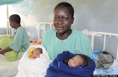 kenya woman with twins