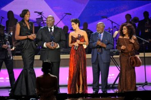 (L-R) Lisa Leslie, T.D. Jakes, Halle Berry, Clarence Avant and Chaka Khan onstage at BET Honors 2013 at Warner Theatre on January 12, 2013 in Washington, DC.