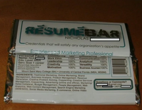 chocolate bar resume