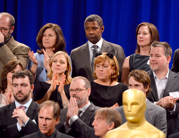 Actor Denzel Washington (C) and Oscar nominees attend the 85th Academy Awards Nominations Luncheon at The Beverly Hilton Hotel on February 4, 2013 in Beverly Hills, California