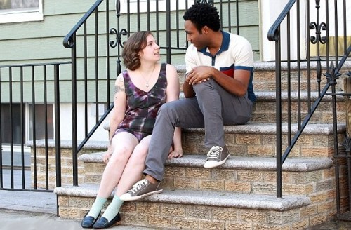 Donald Glover and Lena Dunham film a scene for HBO's &quot;Girls&quot;
