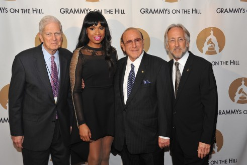 (L-R) Librarian of Congress Dr. James Billington, singer Jennifer Hudson, Clive Davis and President of the National Academy of Recording Arts and Sciences Neil Portnow attend the 2013 Grammys on the Hill Awards at The Hamilton on April 17, 2013 in Washington, DC