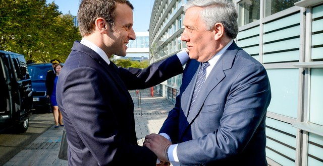 Visit of the President of the French Republic to the European Parliament in Strasbourg - Antonio TAJANI, EP President welcomes Emmanuel MACRON, President of the French Republic