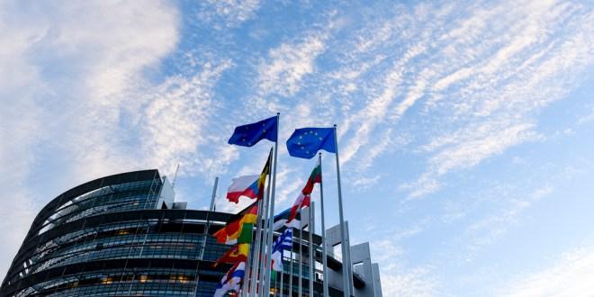 EP stockshots of EP  building in Strasbourg - Flags in front of EP building in Strasbourg