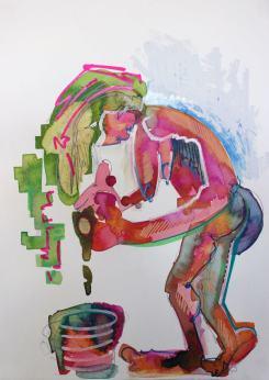 Evangeline Cachinero - Woman-washing-hair_cachinero-paper-2013