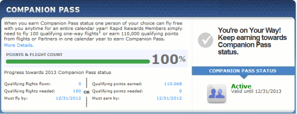 Southwest Companion Pass Summary
