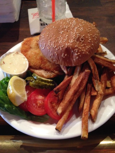 Halibut Sandwich and Fries