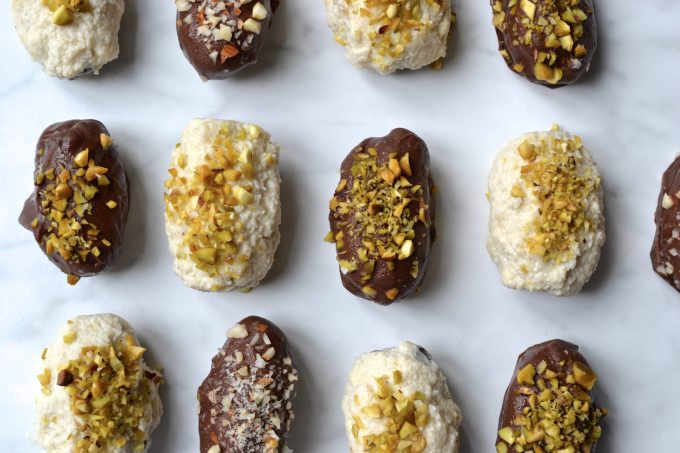 Chocolate & Vanilla Covered Stuffed Dates
