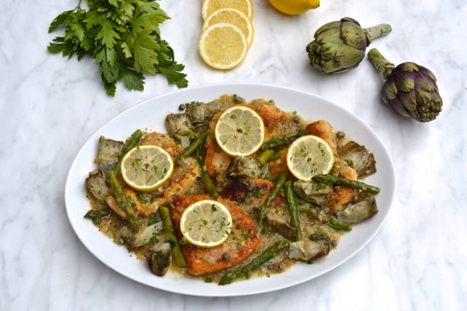 Chicken, Asparagus & Artichoke Piccata