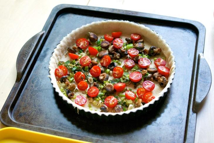 garlic mushroom, feta & tomato quiche