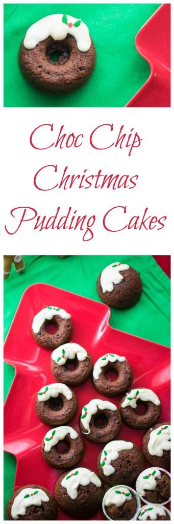 Choc Chip Christmas Pudding Cakes