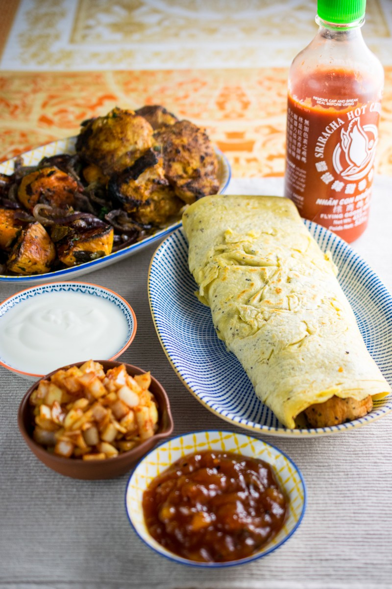 Indian Pancakes with Spiced Sweet Potato