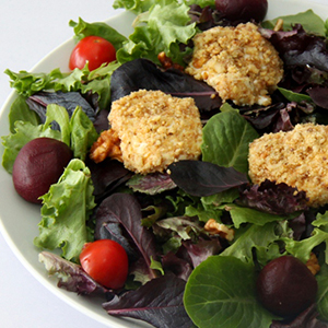 Evo Recipe Warm Hazelnut Crusted Goat Cheese with Mixed Baby Green Salad