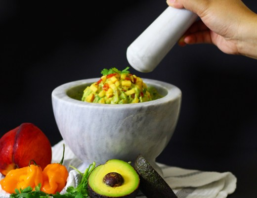 Peach and Habanero Guacamole made with fresh ripe peaches and habanero peppers is an easy way to bring exciting flavor and spice to your guacamole!