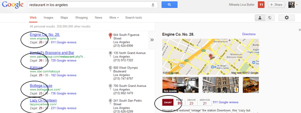 Google Zagat results.