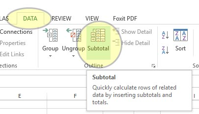 Inserting subtotals in a range of data