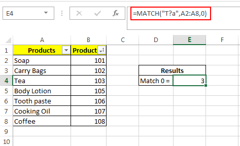 Match Formula with wildcard operators