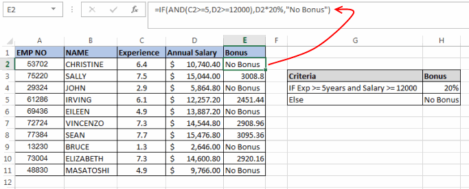 Excel If Function Example
