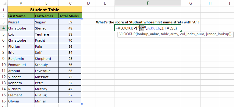 V-look-up in Excel Example-5