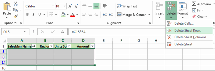Delete blank rows in excel
