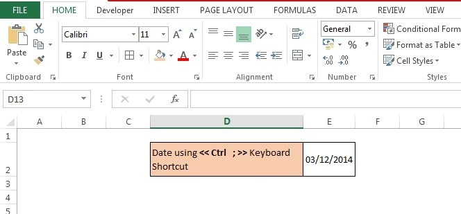 Date Using Keyboard Shortcut