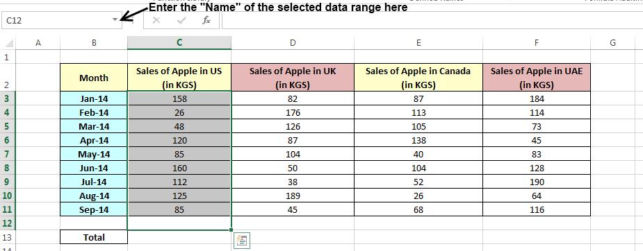 Add Name Range using Name Box