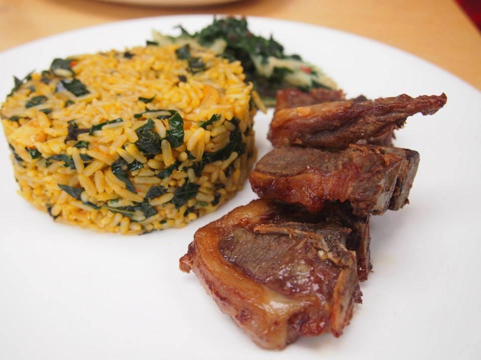 Lamb Chops, Iwuk Edesi (Native Jollof) & Stirfired Ugu & Stockfish