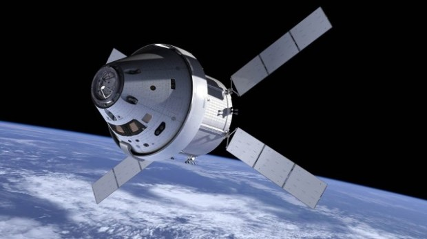 Orion spacecraft, in space (render)