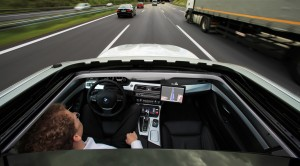 Research project Highly automated driving on highways - Dr. Nico Kämpchen on a test drive (08/2011)