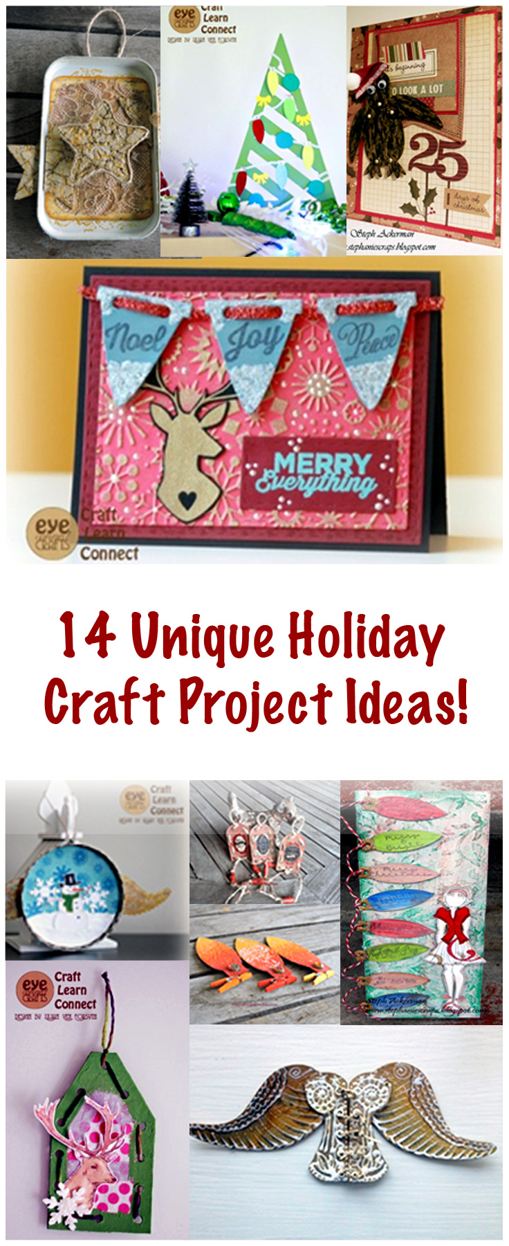 14 unique holiday craft project ideas.