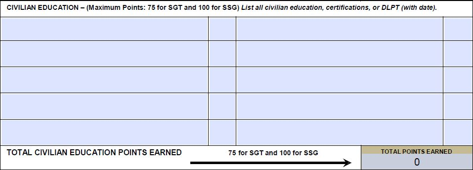 Army Promotion Point Worksheet, PPW, DA Form 3355 | EZ Army Points