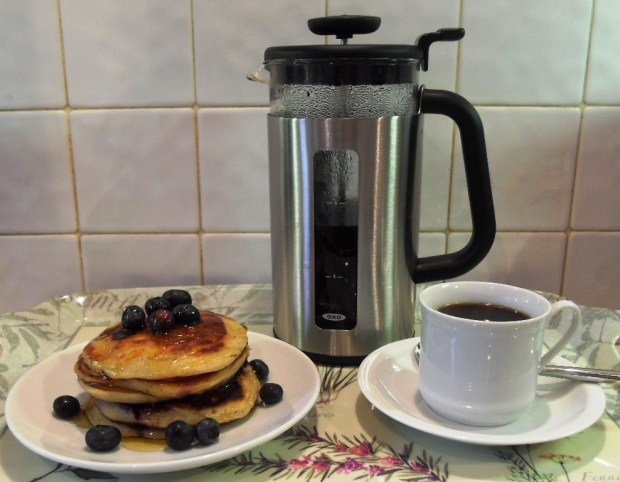 Oxo Good Grips Coffee Press with Blueberry & Banana Pancakes