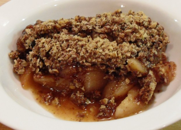 Pear, Chocolate and Ginger with almonds and oats Crumble in a bowl