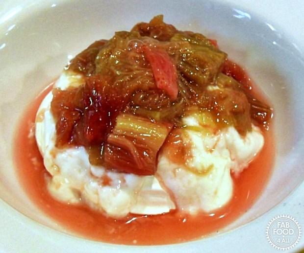Rhubarb Compote with Vanilla Greek Yogurt & Meringue - Fab Food 4 All