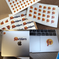 Sticker swag featuring our logo