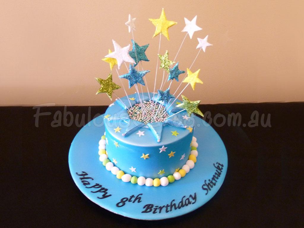 Blue Birthday Cake With Stars Fabulous Cakes