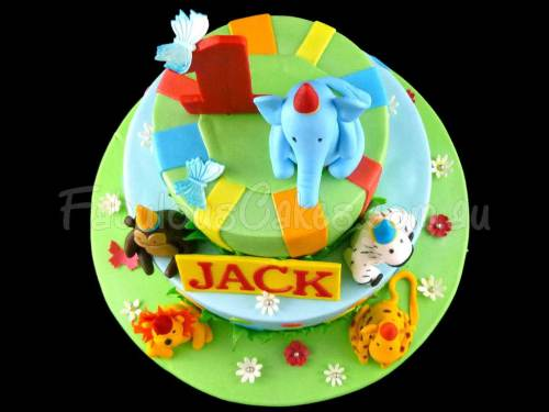 First Birthday Cake with Animals