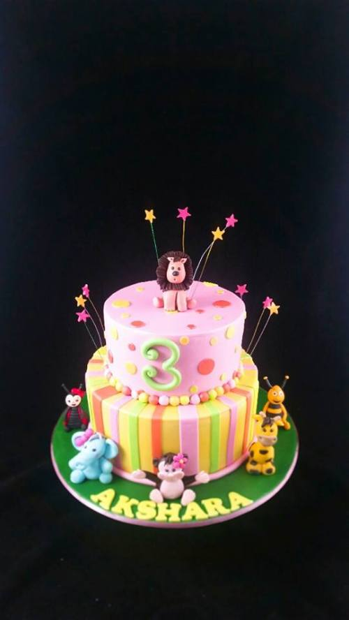 Animal Theme Cake for a Girl