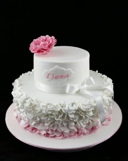 Christening Cake With Ruffles