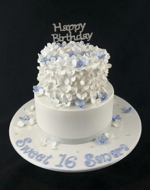White and Blue Hydrangeas Sweet 16th Cake