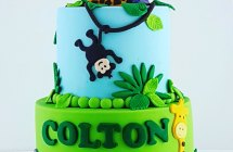 Jungle Theme 1st Birthday Cake