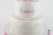 White and Pink Holy Communion Cake