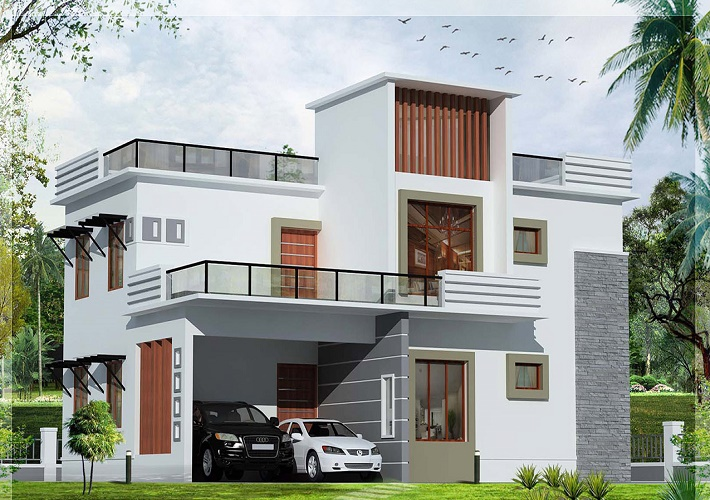10 stunning modern house models designs for Modern home front view design