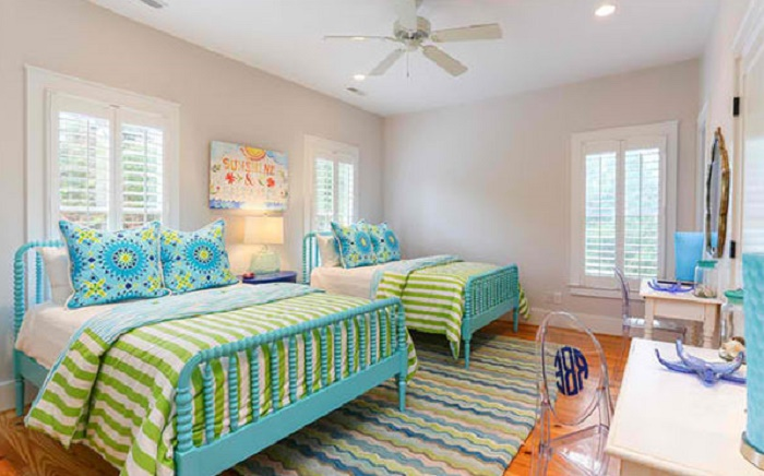kiawah blue white grey and lime green twin modern bedroom idea
